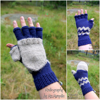 Convertible Fingerless Mittens, handknitted from 100% Alpaca Wool - incredibly soft and warm, any color combination possible, for him or her