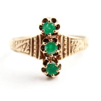 Antique Victorian 14K Yellow Gold Emerald Ring -  Triple Stone Size 6 3/4 Fine Jewelry / Stacked Greens