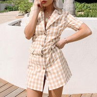 Elegant plaid mini dress women Buttons pockets yellow female dresses Holiday beach retro ladies short vestidos
