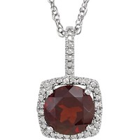 """Sterling Silver 7mm Mozambique Garnet & .015 CTW Diamond 18"""" Halo-Style Necklace"""