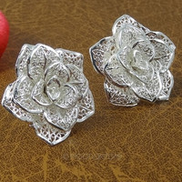 Women Hollow out Rose Flower Earring Ear Studs