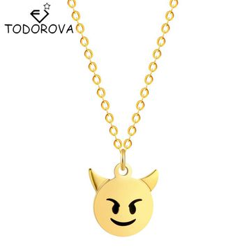 Todorova Little Cute Devil Necklace Pendant Vintage Accessories Monsters Charm Necklaces Men Gifts for friend Hip Hop Jewelry