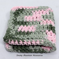 Crochet Dish Cloth Wash Cloth Set in Pink Camo Cotton Yarn