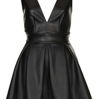 **Deep V PU Skater Dress by Oh My Love - New In This Week  - New In