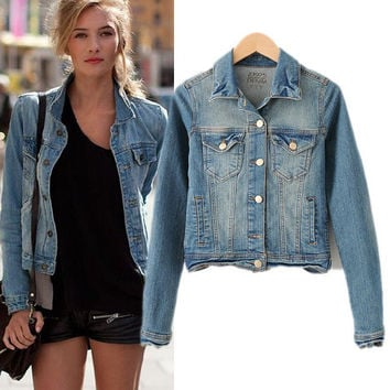 Fashion Lapel Long Sleeve Denim Cardigan Jacket Coat