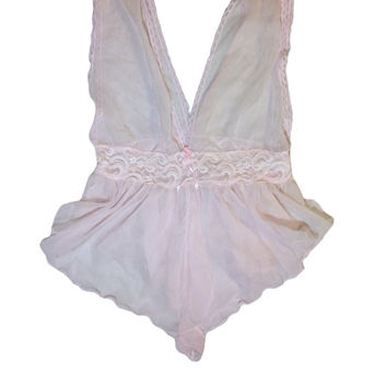 Pastel Pink Sheer Lace Ruffled Teddy  // Bodysuit Lingerie // Size Large