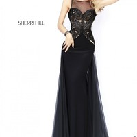 Sherri Hill 32142 Sheer Decolletage Embroidered Bodice Panel Train