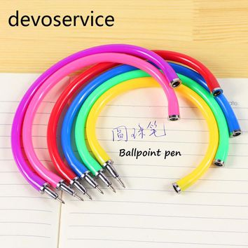 5pcs Flexible Ball Pen Cute Soft Plastic Bangle Bracelet Wristlet Circlet Ballpoint Pens School&office Supplies (Random Color)