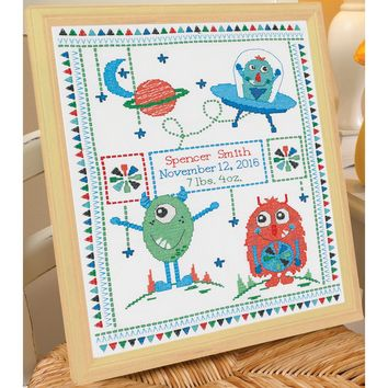 "Monster Birth Record Counted Cross Stitch Kit-10""X13"" 14 Count"