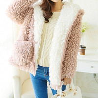 Lamb Fur Hooded Coat