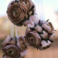 Pick The Color Roses Ranunculus Kissing Ball Bride by braggingbags