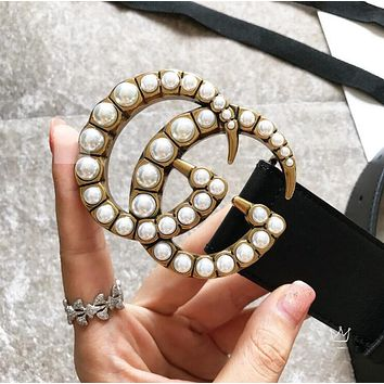 GUCCI Fashion Women Men Double G Pearl Smooth Buckle Leather Belt I/A