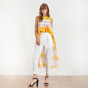 Striped Patchwork Hit Color Asymmetrical Top