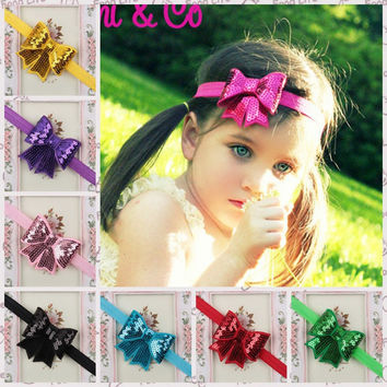 Sequin Bow Baby Headband Big Bow Knot Head Wrap Girls Head band Turban Headband Girls Hair Accessories