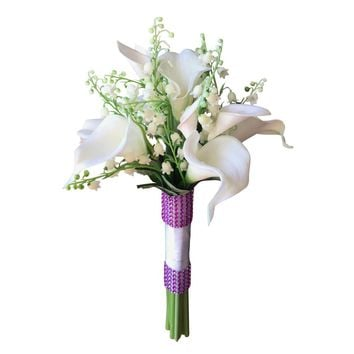 Wedding Bouquet - Lily of the Valley with 8 Stems of Calla Lilies - Pick Ribbon Color and Bling Color