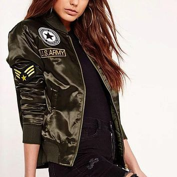 Flight Bomber Jacket Army Green Embroidered Patch
