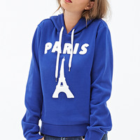 FOREVER 21 Paris Hoodie Royal/White