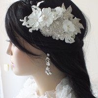 Bridal lace floral headpiece ivory silver rhinestone lace Hairpiece Ivory Beaded lace floral wedding hair piece bride hair comb