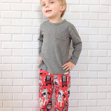 Boys Pants Red Robots Baby Toddler Boutique Clothing By Lucky Lizzy's