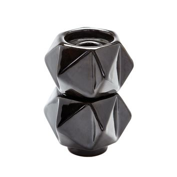 Small Ceramic Star Candle Holders In Black - Set of 2 Black