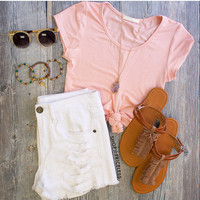 Carmel Knot Crop Top - Peach