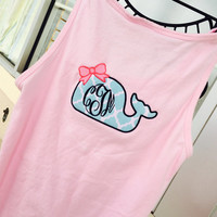 Whale Applique Pink Tank Top Comfort Colors Monogram Font shown MASTER CIRCLE in navy