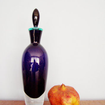 Vintage murano decanter, nave blue, early nineties murano decanter for wine, liqueur,  snaps, etc