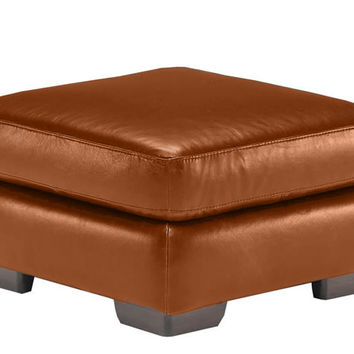 Color Customizable Leather Ottoman Allaro by Natuzzi Editions