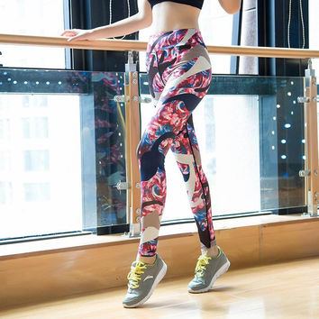 Stretch Sports High Waist Slim Yoga Print Gym Plus Size Skinny Pants [10153532876]