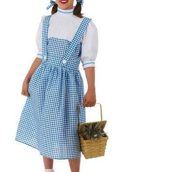 Superior quality princess clothing Girls Wizard of oz dorothy dress costume Carnival Cosplay Halloween children adult Maid Dress