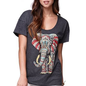 Riot Society Ornate Elephant Boyfriend T-Shirt - Womens Tee - Black