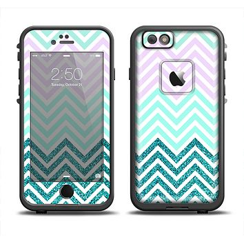 The Light Teal & Purple Sharp Glitter Print Chevron Apple iPhone 6 LifeProof Fre Case Skin Set