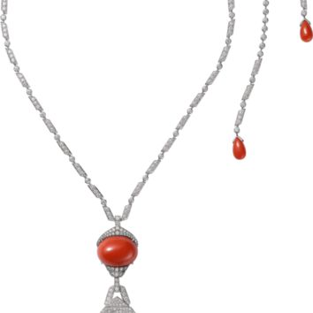 Panthère de Cartier High Jewelry necklace: Necklace - platinum, one oval-shaped cabochon-cut and five coral drops totalling 73.35 carats, emerald eye