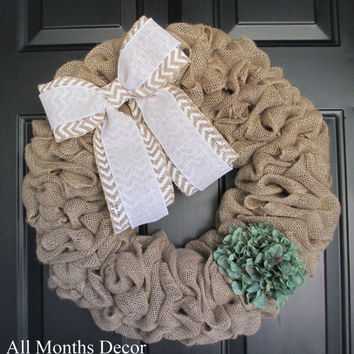 Burlap Wreath with White Chevron Bow & Hydrangea, Rustic Country, Spring Easter Fall, Year Round, Porch Door Decor