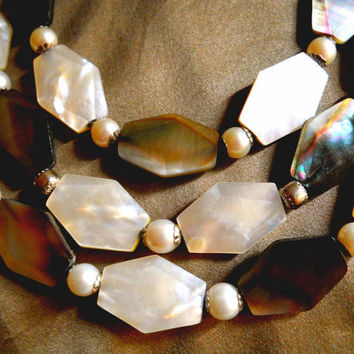 Mother of Pearl Sterling Necklace Glass Pearl 3-Strand Vintage