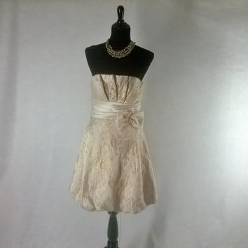 Vintage  Betsy and Adam Gold Brocade strapless evening dress gown designer , Size S 6 / 7