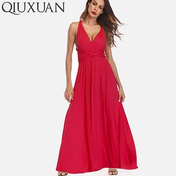 QIUXUAN 20 Colors Summer Maxi Party Dress Multiway Swing Dress  Fashion Sleeveless Convertible Infinity Robe Wrap Dress