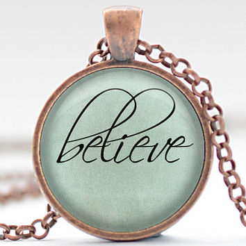 Believe Necklace, Word Jewelry, Inspirational Charm, Pale Blue Pendant, Your Choice of Finish (1312)