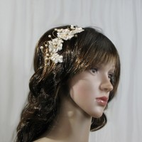 Gold Lace Bridal Hair Pieces. Gold Wedding Tiara with Swarovski Pearls. Gold Lace Headband.