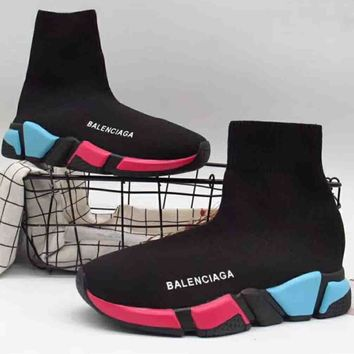 Balenciaga high top tide brand trendy women casual stretch sneakers F-A36H-MY Black