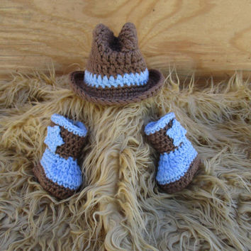 Crocheted Baby Cowboy Boots and Hats Baby Cowboy Props Baby Outfit Cowboy Photo Prop Cowboy Clothes Newborn Cowboy Props  Cowboy Knit