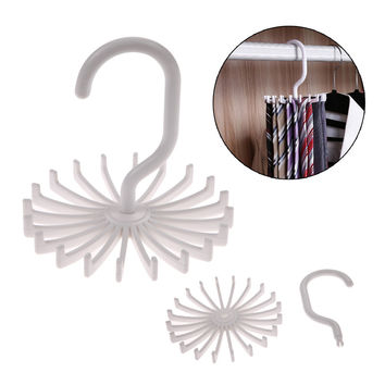 Hot Sales High Quality White Plastic Tie Rack Rotating Hook Tie Holder 1 Piece Holds 20 Ties Belts Scarves Hanger