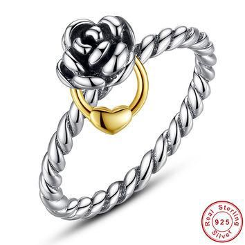 Fit Pandora Ring Gold Genuine 925 Sterling Silver Love Heart Ring Silver 925 Original
