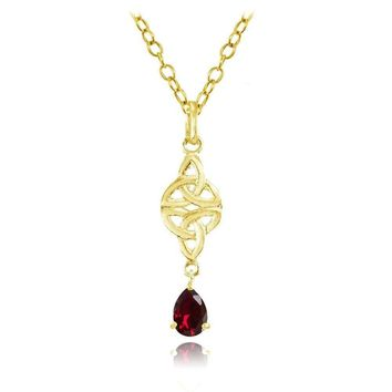 Celtic Trinity Knot Teardrop Created Ruby Necklace in Gold Plated 925 Silver
