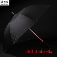LED Lightsaber Light Up Umbrella with 7 Color Laser sword Light up Golf Umbrellas Changing On the Shaft Built in Torch at Bottom