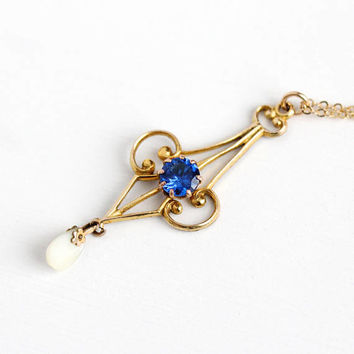 Antique Rosy Yellow Gold Filled Created Spinel Lavalier Necklace - Vintage 1900s Edwardian Art Nouveau Blue Gem Pearl Pendant Jewelry