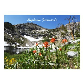 45th Birthday Invitation, Mountains, Wildflowers Card