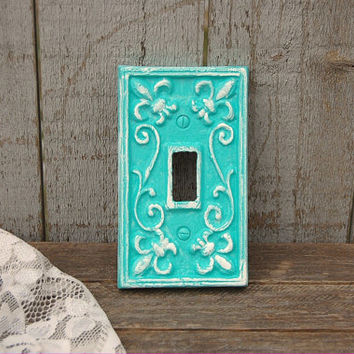 Switch Cover, Shabby Chic, Tiffany Blue, Turquoise, White, Single, Wall Plate, Ornate, Fleur de Lis, Cast Iron
