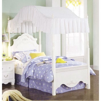 Twin Size Victorian Style White Wood Canopy Bed - Fabric Not Included & Shop Victorian Bed on Wanelo