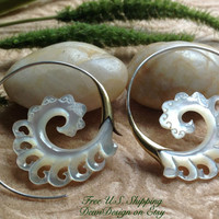 """Tribal Hanging Earrings, """"Golden Surf"""" Naturally Organic, Mother of Pearl, Brass/Sterling Posts, Hand Carved"""
